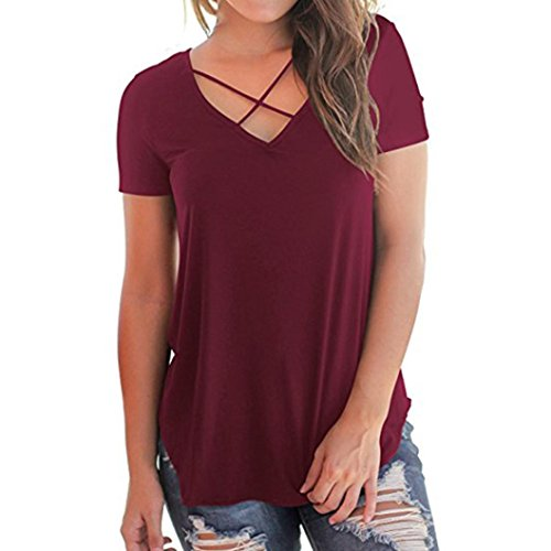 Forthery Women's Casual Short Sleeve T-Shirt Solid Criss Cross Front V-Neck Tops (M, Wine Red) Red Stripes Wine