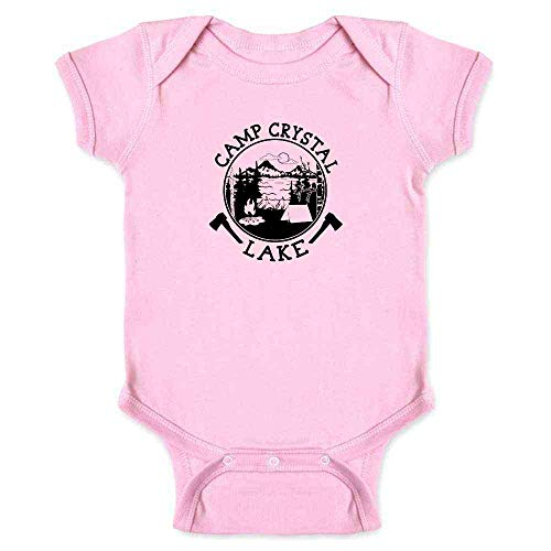 Pop Threads Camp Crystal Lake Counselor Shirt Costume Staff Pink 6M Infant Bodysuit ()