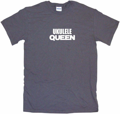 Ukulele Queen Women's Regular Fit Tee Shirt XXL-Charcoal