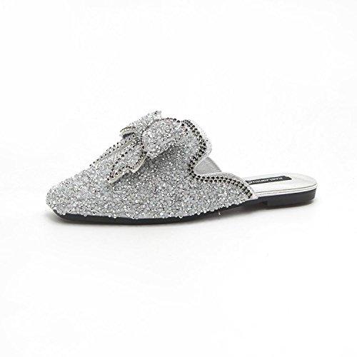 Flash XING Chaussures Tendance Diamant Super Silver Dérapant Slipper Baotou Coréen 35 Silver Anti Plat Bow 37 Half Chaussures GUANG Chaussures xOwqYrOA