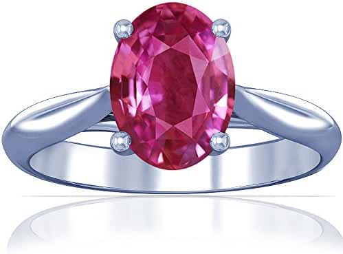 Platinum Oval Cut Pink Sapphire Solitaire Ring