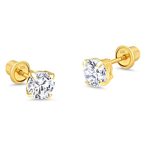 (10k Yellow Gold 6mm Basket Round CZ Cubic Zirconia Solitaire Children Screw Back Baby Girls Earrings)