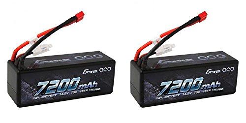 2 PACK Gens Ace 7200mAh 14.8V 4S 70C 4S1P HardCase Lipo Battery 7200 Deans-Plug LOSI OFNA VENOM -  GENS ACE 7200MAH 4S 14.8V LIPO BATTERY