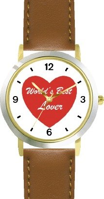 Red Heart - World's Best Lover - Love & Friendship Theme - WATCHBUDDY DELUXE TWO-TONE THEME WATCH - Arabic Numbers - Brown Leather Strap-Women's Size-Small