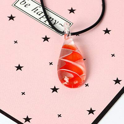 FidgetKute Murano Glass Tear Drop Spiral Flower Pendant Ribbon Necklace Jewelry Gift Orange