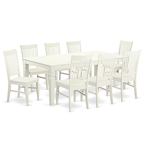 East West Furniture 9 Piece Table Set with One Logan Dining Table and 8 Dining Room Chairs in Linen White Finish (Set Room Dining Nine Piece)