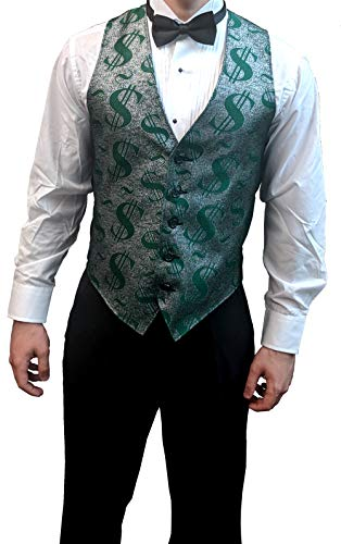 Men's Green and Silver Dollar Sign Pattern Vest and Black Bow Tie Set XX -