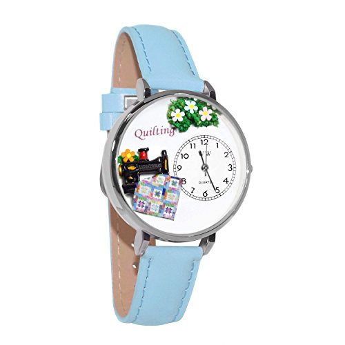 Whimsical Watches Unisex U0450012 Quilting Baby Blue Leather Watch (Oval Italian Charm Watch)