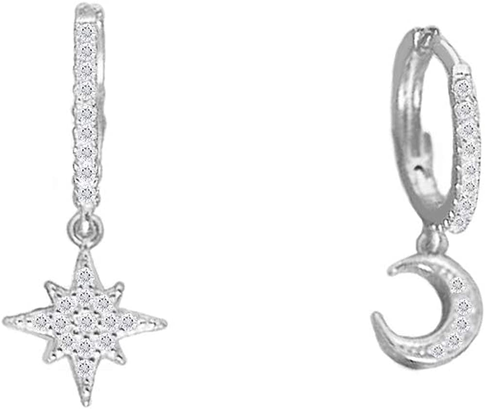 Cute Crystal Moon Star Dangle Hoop Earrings for Women Teen Girls S925 Sterling Silver with Charms Asymmetrical Pave CZ Diamond Drop Cartilage Jewelry Delicate Fashion Dainty Gift