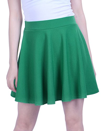 School For Outfits Goth (HDE Women's Skater Skirt Pleated Flared A Line Circle Stretch Waist Skater Skirt (Green,)