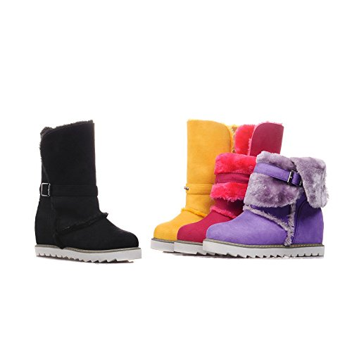 Red Closed Ankle Womens toe Winter Fur Booties Flat Sole Boots Snow AIWEIYi wqP457w
