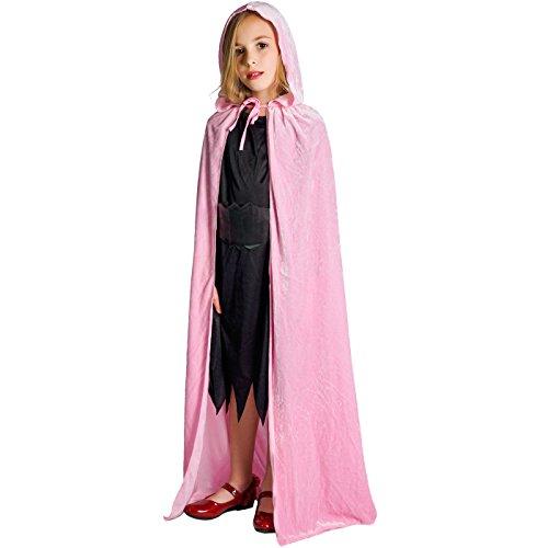 flatwhite Girl's Full Length Crushed Velvet Hooded Cape Costumes 57.48in (Pink)