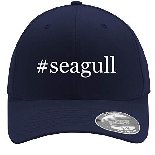 #Seagull - Adult Men's Hashtag Flexfit Baseball Hat Cap, Dark Navy, Small/Medium