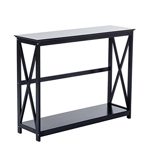 Modern Black 2 Tier Console Tables Accent Storage Shelf Hallway Furniture