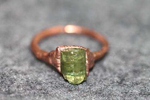 Healing Crystal Green Tourmaline Copper Ring 4.5 ()