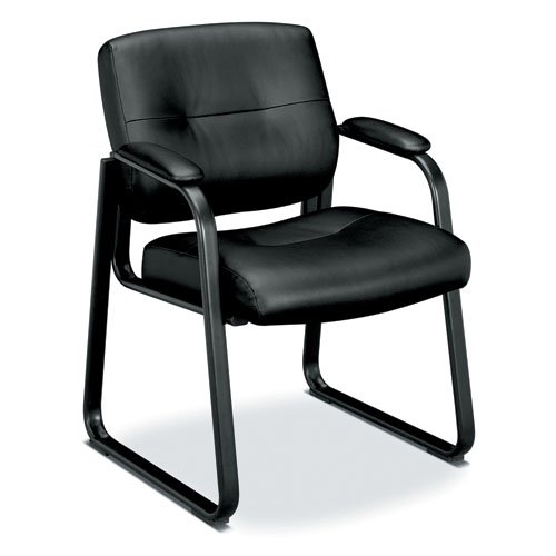 HON Client Sled Base Guest Chair - Leather Reception Chair, Black (HVL693) ()