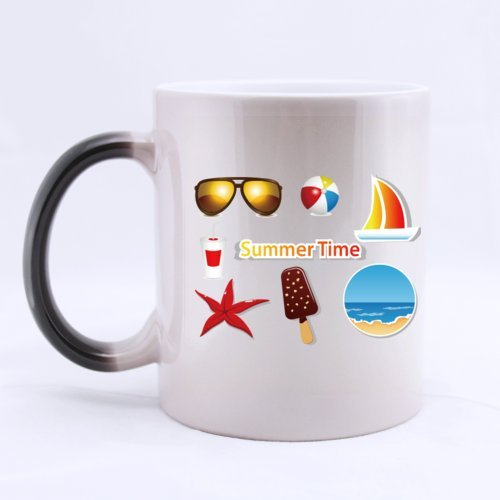Colorful Everything We Love In Summer Ice-lolly Boat Sea...(Twin Side) Magic Surprise Mug Changing Black And White Morphing Mug (11 Oz)