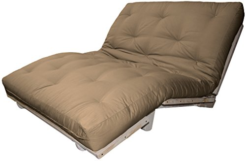 Houston Au Natural 8-inch Loft All Cotton Filled Sit, Lounge, or Sleep Futon Sofa Sleeper Bed, Queen-size, Unfinished Frame, Microfiber Suede Mocha Brown Upholstery (Queen Unfinished Bed)