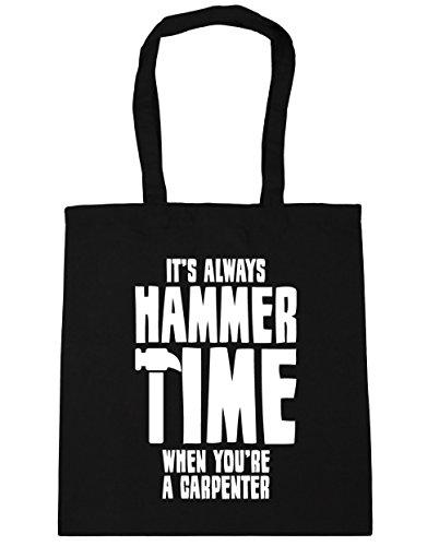 HippoWarehouse Siempre Es martillo tiempo cuando eres un carpintero Tote Compras Bolsa de playa 42cm x38cm, 10litros negro