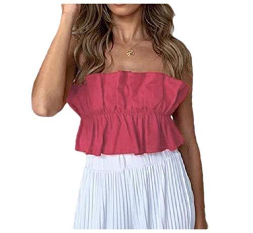 HEFASDM Mulheres Skinny tops sólidos colheita strapless tops camisetas blusa Red M