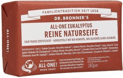 Omnia Bar (DR. BRONNER'S Eucalyptus Bar Soap - Opens your pores & clears your sinuses - Made from finest organic plant oils - With the fragrance of organic oil - Biodegradable - Vegan - 140 gr)