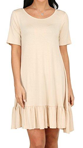 Alaroo Womens Ruffle Hem Tunic Shirt Dress With Pocket S-XL