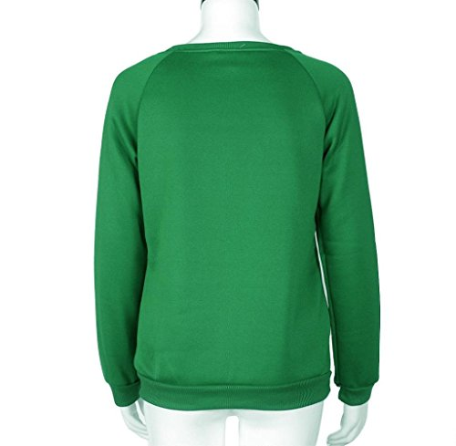 Tongshi Búho lindo camiseta estampada superior blusa Casual camisa de mujer manga larga Verde
