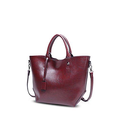 Bucket de amp;DORIS Rojo Mujer Mano NICOLE Monederos Grande Oscuro Bolsa Elegante Tote Bolsos para Bandolera Crossbody Bag Rojo Bolso Mujer de Bolso PU Oscuro wq4xASYx