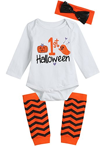 Baby Girls' 1ST Halloween Pumpkin Ghosts Bodysuit Striped Legging with Headband Outfits Set (12-18 Months) ()
