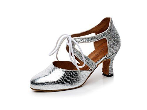 Shoes Our37 JSHOE Round UK4 Jazz Modern Chacha Latin High Salsa Samba Tango Sequins Women's EU36 Heels Toe Shoes Dance Sandals heeled7cm Silver 5 rHY4qBrwS