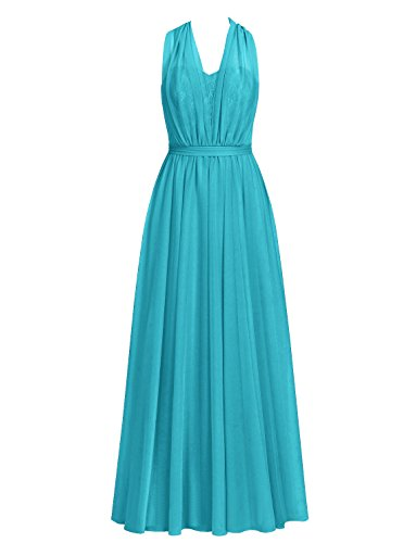 Long Chiffon Bridesmaid Dresses Prom Evening Gowns Party Formal Dress Halter Lace Convertible Jade US 10