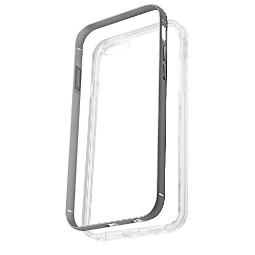 iPhone 6 Case Gray, F-color iPhone 6S Cover Clear Soft TPU Back Cover Bumper with Slim Alloy Metal Frame, Matte Finished Transparent Protective Skin 2 in 1 Designed for iPhone 6, Grey
