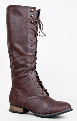 Katniss Everdeen Boots (Breckelle's Outlaw Women's Lace Up Knee High Riding Boots,Outlaw-13v2.0 Light Brown 7)