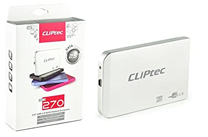 Carcasa externa de Disco HDD CLiPtec® USB SATA de 6,35 cm, con USB 3.0, cable de 9,5 mm 7 mm SATA. plata USB 2.0 - 2.5