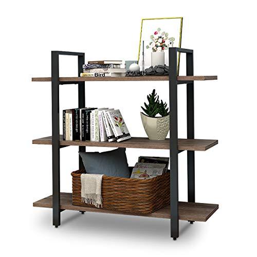 W-LIVE 3-Shelf Vintage Industrial Rustic Bookshelf, Wood and Metal Bookcase, Gary Oak