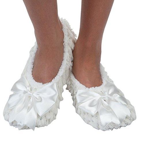 Snoozies Womens Satin Bling Ballerina with Bow Cozy Sherpa Non Skid Slipper Socks - White, Medium