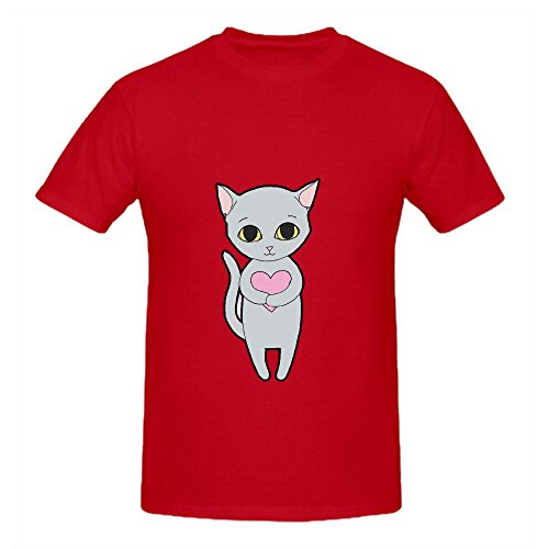 Kitten With Heart Mens Crew Neck Customized T Shirt Red