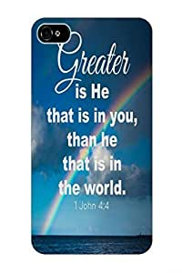 1 John 4:4 greater is he that is in you, than he that is in the world bible christian quote verses blue sea rainbow hard top quality plastic cover protector sleeve case for apple iphone 4 4S 4G