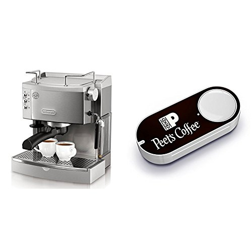 DeLonghi EC702 15-Bar-Pump Espresso Maker, Stainless & Peet's Coffee Dash Button