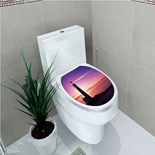 Toilet Cover Sticker 3D Printing,Lighthouse Decor,Lighthouse Searchlight Beam Through Marine Air at Night Lighting Tower Guidance,for You Design,W12.6