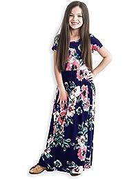 Girls Maxi Dress,Kids Floral Casual T-Shirt 3/4 Sleeve...
