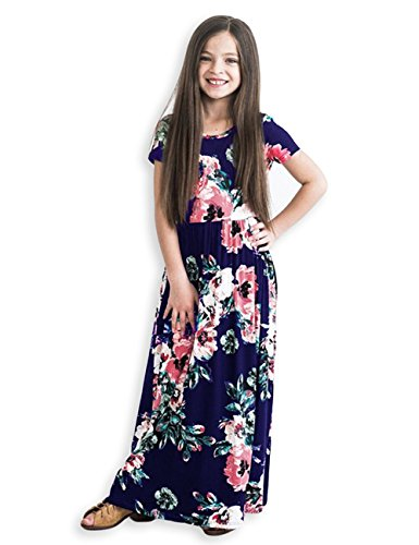 Kids Floral Maxi Dress Girls Summer Casual Pocket Long T-Shirt Short Sleeve for Kids 6-12