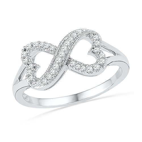 10kt White Gold Womens Round Diamond Infinity Band Ring 1/6 Cttw
