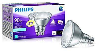 Philips 13.5-Watt (90-Watt Equivalent) PAR38 Daylight Dimmable 2Pack LED Floodlight Bulbs