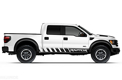 "Ford F-150 Raptor SVT 2010-2014 Crew Cab Standard Bed ""RAPTOR"" ROCKER PANEL Graphics Kit 3M Vinyl Decal Wrap - Matte Black"