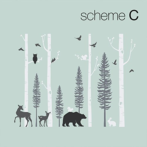 Simple Shapes Birch Trees with Animals Wall Decal - Scheme C - 120'' (305 cm) Tall Trees by Simple Shapes (Image #1)