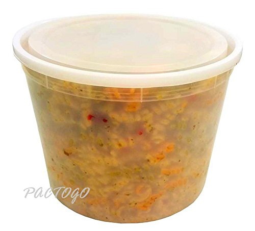 Foam Pak US 128 oz. Clear Round Plastic Heavy Deli/Soup Freezer Food Container w/Lid 45 Sets (pack of 45) - Foam Round Food Container