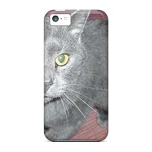 New Cute Funny Russian Blue Cat Case Cover/ Iphone 5c Case Cover