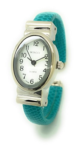 Leather Cuff Bangle Fashion Watches (Ladies Small Oval Case Snakeskin Leather Bangle Cuff Fashion Watch White Dial Wincci (turquoise))