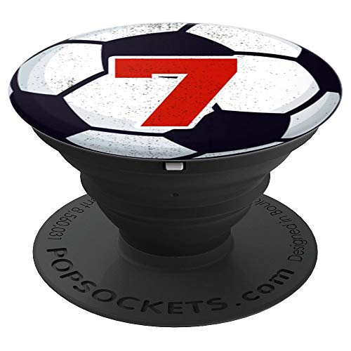 Number 7 Soccer Ball Futbol Player Jersey Boy Girl Red Kid - PopSockets Grip and Stand for Phones and Tablets